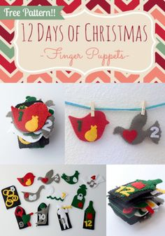 12 Days of Christmas Finger Puppets Tutorial and Free Pattern {Felt With Love Designs}