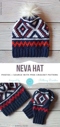 Crochet Beanie Patterns Neva Hat Free Crochet Pattern - Beautiful colour palette, funky pom-pom and matching mittens - it must be Neva Hat. It was inspired by the Team USA olympic team uniforms. Crochet Pattern Free, Crochet Beanie Pattern, Crochet Patterns, Pattern Sewing, Crochet Ideas, Crochet Gifts, Easy Crochet, Crochet Phone Cases, Crochet Leg Warmers