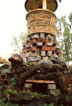 Detail of creature tower for wildlife gardening