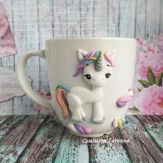 Cute Polymer Clay, Fimo Clay, Polymer Clay Projects, Unicorn Ornaments, Clay Ornaments, Cute Mug, Unicorn Cups, Deco Kids, Clay Cup