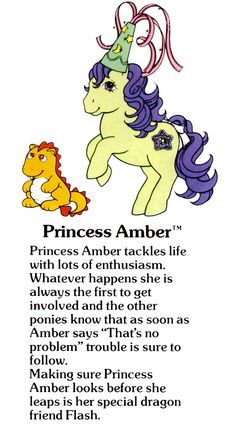 My Little Pony Princess Amber and Flash the dragon fact file ...