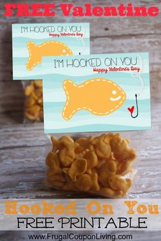 "FREE Valentines. DIY Valentine Series – Goldfish ""Hooked on You"" Valentines. DIY Valentines. Valentine Printable. Goldfish Valentine. #Free #valentinesday #bagtopper #craft"