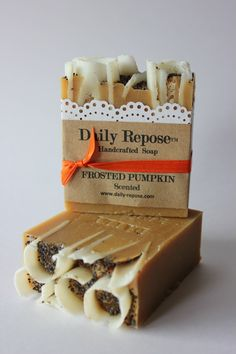 Frosted PUMPKIN SOAP Handmade Bar Scented Natural Vegan Cold Process Soaps. $5,50, via Etsy.