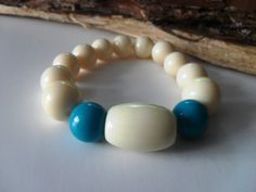 Retro Cream and Turquoise High Gloss by JustJoJewellery on Etsy, £4.00