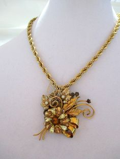 Mixed Metal Assemblage Pendant on Vintage Gold Like Chain by debsdaydreams on Etsy