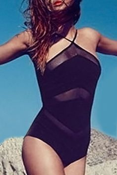 a463033bd0 Stylish Women s Halter Backless See-Through One Piece Swimwear Cheap  Swimsuits