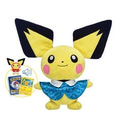 With its extra-large ears and pink cheeks, this Pichu plush bundle makes a small but powerful addition to any Pokémon Trainer's lineup. Shop now at Build-A-Bear!