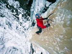 Will Gadd climbs a frozen pillar of ice outside Rjukan, Norway. Photograph by Christian Pondella