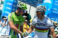 Peter Sagan and Philippe Gilbert say good morning prior to the start in Escondido
