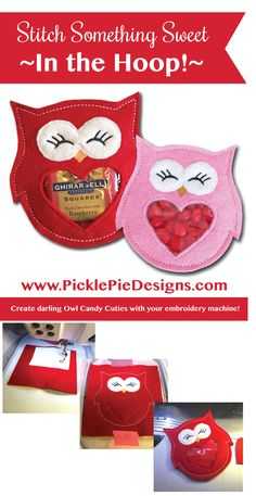 Owl candy cutie in the hoop machine embroidery designs