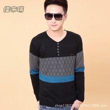 Áo len dệt kim nam thời trang, thiết kế cổ chữ V, phối màu nổi bật