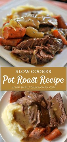 Slow Cooker Pot Roast Recipe is a great Christmas dinner idea for a crowd! It is an easy beef roast recipe that even the novice chef can handle. This delicious recipe is the perfect addition to your dinner menu. Save this pin for later! Roast Beef Recipes, Slow Cooker Recipes, Crockpot Recipes, Cooking Recipes, Chicken Recipes, Best Roast Beef Recipe Slow Cooker, Best Pot Roast Recipe Slow Cooker, Roast Beef In Slow Cooker, Crockpot Potroast