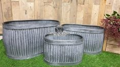Set of 3 industrial vintage galvanised metal dolly tub garden oval plant pots planters Plant Pots, Potted Plants, Planter Ideas, Planters, Long Planter, Galvanized Tub, Cheat Meal, Vintage Industrial
