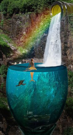 mermaid with waterfall and rainbow