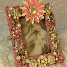 Jeweled picture frame vintage jewlelry ocean themed pink mermaid, swarovski crystal