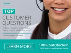Top customer questions for customer service of an image of a woman on a call. The image has a turquoise text box and grey background. Easy to edit