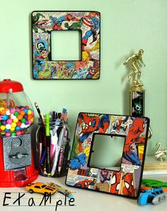 ❤️Vintage Superman Comic Decoupage Picture Frame  by junksy on Etsy...  Could easily be a DIY with any magazine or book.