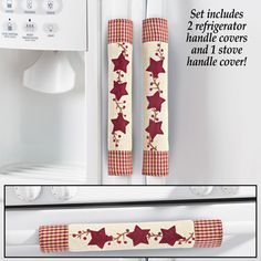 Star Oven and Refrigerator Handle Covers ~#~ What a duh moment, these get dirty so fast, and it would be nice to change them out instead of scrubbing.   Also great for adding color to the room.