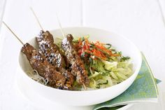 Vietnamese beef skewers with vermicelli salad - if you aren't keen on fish sauce substitute for two parts soy, 1 part lemon or lime juice