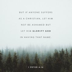 """But it is no shame to suffer for being a Christian. Praise God for the privilege of being called by his name!"" ‭‭1 Peter‬ ‭4:16‬ ‭NLT‬‬ http://bible.com/116/1pe.4.16.nlt"