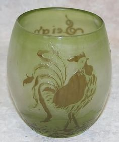 E.GALLE(1846-1904)___  Galle Cameo glass vase or tumbler having dark olive green rooster