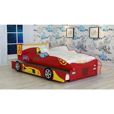 Racing Car Bed with Trundle - Red - Kids room, boys room, childs bed