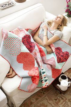 """Lovely """"Paper Hearts"""" quilt by Tula Pink."""