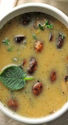 white bean roasted mushroom soup