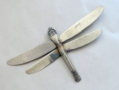 Recycling Old Knives | Dragonfly made from recycled dinner knives by Mudgoddess via Etsy