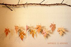 Paper Leaf & Branch Mobile  Easy Fall Craft, Autumn leaves- Happiness is Homemade