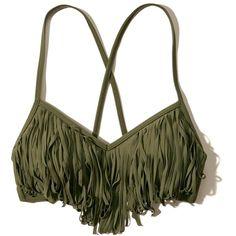 Girls Fringe Scoop Swim Top ($25) ❤ liked on Polyvore featuring swimwear, bikini, intimates and tops