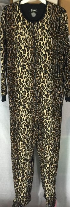 2e3b264981 Nick Nora Women s Footed Leopard Cheetah Fleece Zip One Piece Pajamas XXL  B8