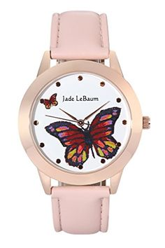 Jade LeBaum Womens Pink Watch Butterfly Dial Leather Strap Rose Gold Tone Bezel Reloj Damas JB202812G -- Click image to review more details.(It is Amazon affiliate link)