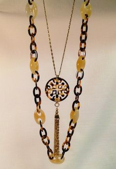 Agate and tortoise necklaces by Lorren Bell for Fall 2015.