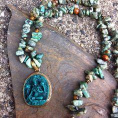 Bohemian edelsteen ketting met groene Tara, afrikaanse turkoois, tijgeroog en mosagaat