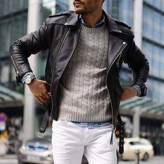 Veste en cuir + Chemise en Jean + Pull en maille = Un look branché pour une après midi détente ! Retrouvez ces pièces sur Nouvelle Collection #nouvelleco #menswear #mode #homme #style