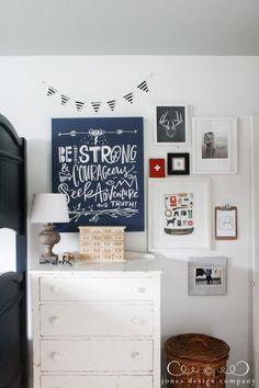 boys room makeover: gallery wall--love the artwork choices! {Jones Design Co.}