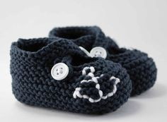 Crochet Navy Anchor Baby Booties@Nadja Swift