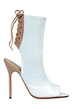 Manolo Blahnik for Victoria Beckham Peep Toe Ankle Boots SS13