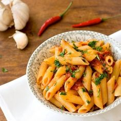 Penne all'arrabbiata is a very simple and quick Italian pasta dish.