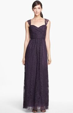 Amsale Pleated Lace Sweetheart Gown | Nordstrom
