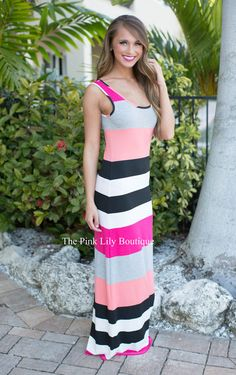 All At Sea Stripe Maxi Pink - The Pink Lily Boutique