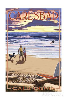 Carlsbad, California - Beach Scene and Surfers Posters by Lantern Press at AllPosters.com