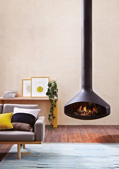 Round Flame Hanging Fireplace
