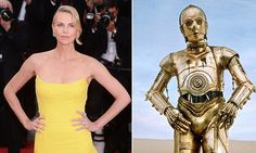 Charlize Theron in a canary strapless Dior gown, influenced (possibly) by the monotones of C-3PO