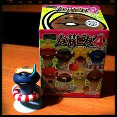 """Seabath"" Mushroom Figurine from Nameko Saibai. He thought the sink was really the sea. Shock made him blue!"