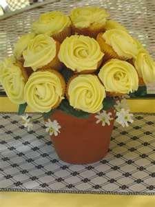 Yellow rose cupcake bouquet