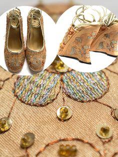 Vintage beaded lace up Platform wedges orient shoes // slingbacks ❤ ❤ ❤ fit for size 40  EU