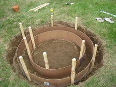 pour concrete ring fire pit
