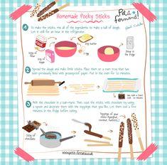 Homemade Pocky Sticks Recipe for Kids - Food Recipes 😋 Kids Cooking Recipes, Cooking With Kids, Fun Cooking, Kids Meals, Easy Desserts, Dessert Recipes, Drink Recipes, Cookie Recipes, Drink Recipe Book